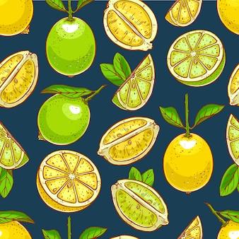 Citroenen en limoenen achtergrond. hand getekende naadloze patroon