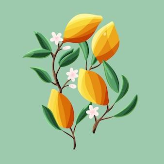 Citroenen op boomtakken. geïsoleerd tropisch zomerfruit, op groene, abstracte kleurrijke hand getrokken vectorillustratie.