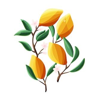 Citroenen op boomtakken. geïsoleerd tropisch zomerfruit, op witte, abstracte kleurrijke hand getrokken vectorillustratie.
