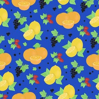 Citroenen sinaasappelen takjes rozenbottels en aalbessen naadloze patroon vector in doodle stijl