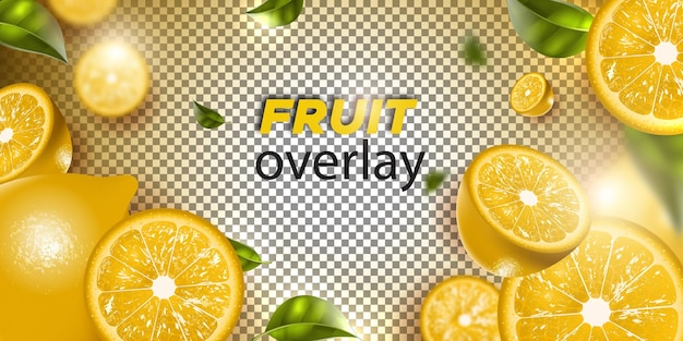 Citroenfruit op een transparante achtergrond