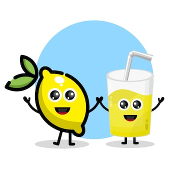 Citroensap glas schattig karakter logo
