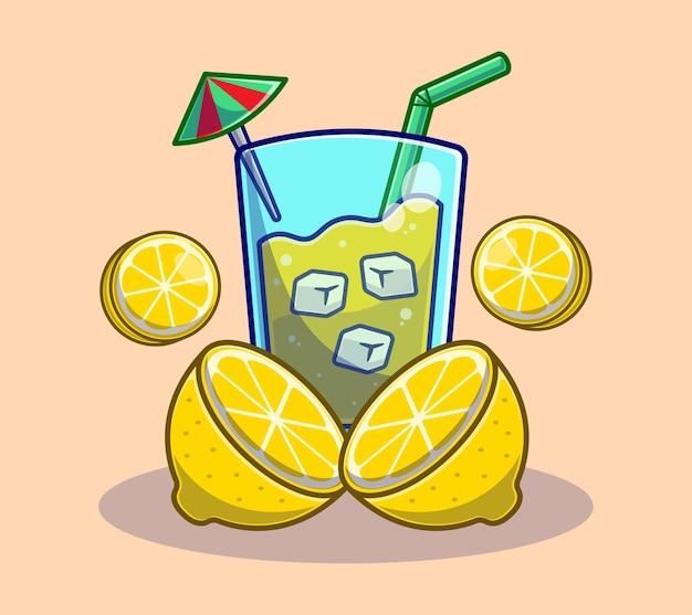 Citroensap met schijfje citroen cartoon. zomerfruitdrankconcept plat