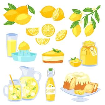 Citroenvruchten citroengeel gele citrusvruchten en verse limonade of natuurlijk sap illustratie set citroentaart met jam en citroensiroop geïsoleerd op witte achtergrond