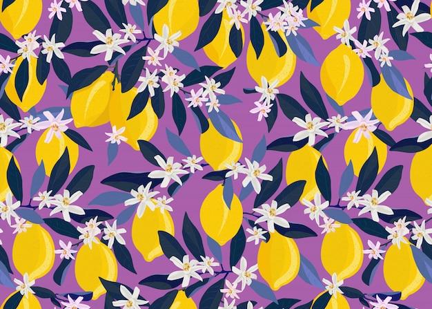 Citroenvruchten naadloos patroon met bloemen en bladeren