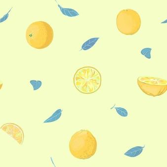 Citrus heldere kleurrijke blauwe en gele naadloze patroon achtergrond.