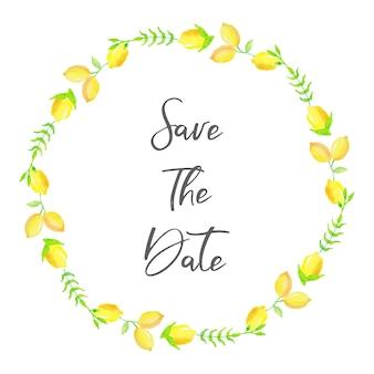Citrus lemon floral watercolor wreath