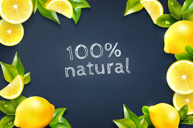 Citrus lemon frame blackboard background poster