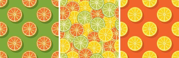 Citrus naadloze patroon set: citroen, limoen, stukjes sinaasappel
