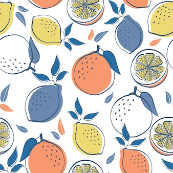 Citrusvruchten citroenen en oranje naadloze patroon achtergrond