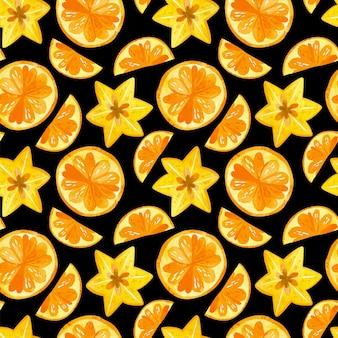 Citrusvruchten en carambola aquarel naadloze patroon
