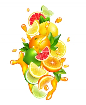Citrusvruchten juice drops kleurrijke samenstelling