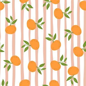 Citrusvruchten naadloos patroon met willekeurig mandarijnornament