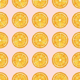 Citrusvruchten plakjes hand getekende naadloze patroon.