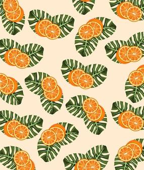 Citrusvruchten poster met sinaasappels en bladeren patroon