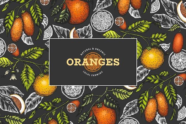 Citrusvruchtenetiket in bordstijl