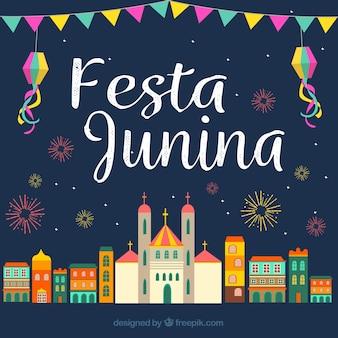 City achtergrond vieren festa junina in plat ontwerp