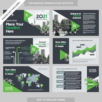 City background business company presentatie met infographics template.