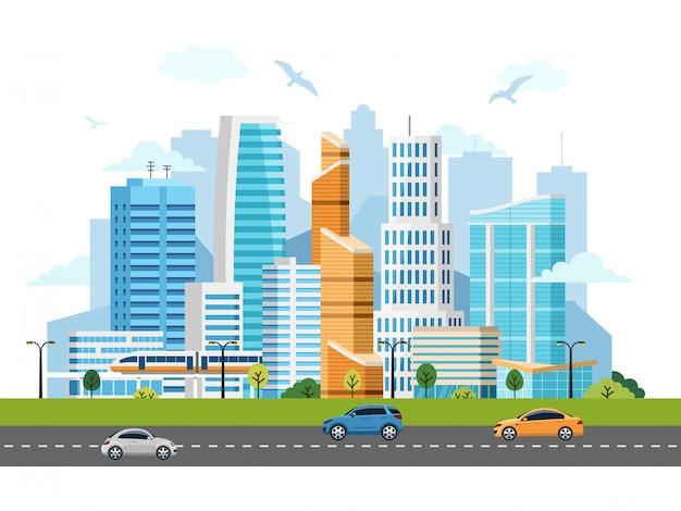 City downtown wolkenkrabbers landschap