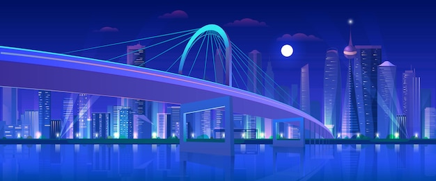 City highway night bridge, moderne stedelijke neon futuristische skyline