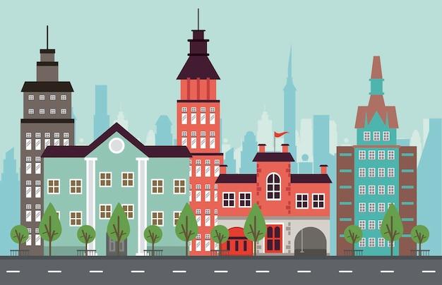 City life megalopolis cityscape scène met wolkenkrabbers en weg illustratie