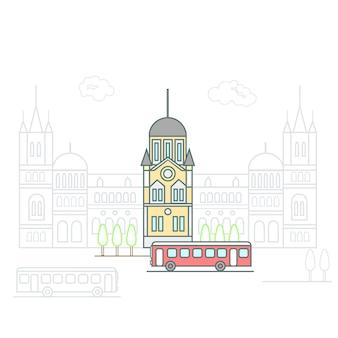 City line art Premium Vector