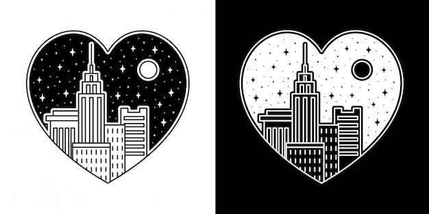 City love badge monoline design