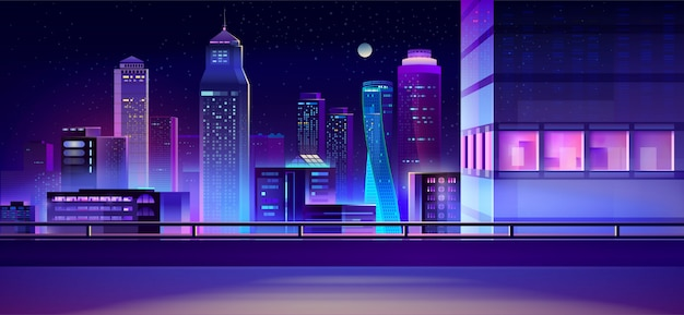 City nacht skyline cartoon achtergrond