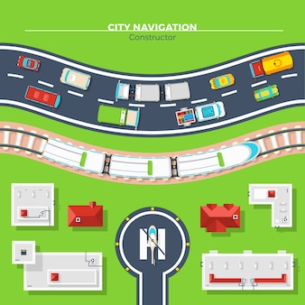 City navigation top view