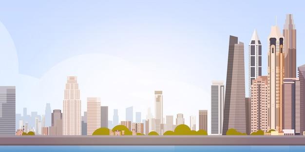 City skyscraper view cityscape achtergrond skyline met kopie ruimte