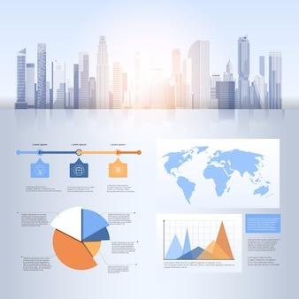 City skyscraper view cityscape achtergrond skyline silhouette met kopie ruimte infographics