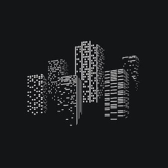 City skyscrappers skyline silhouet op donkere rug
