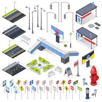 City street constructor isometric elements
