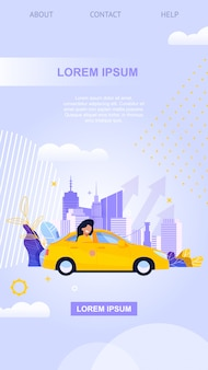 City taxi mobile app. gele auto vlakke afbeelding