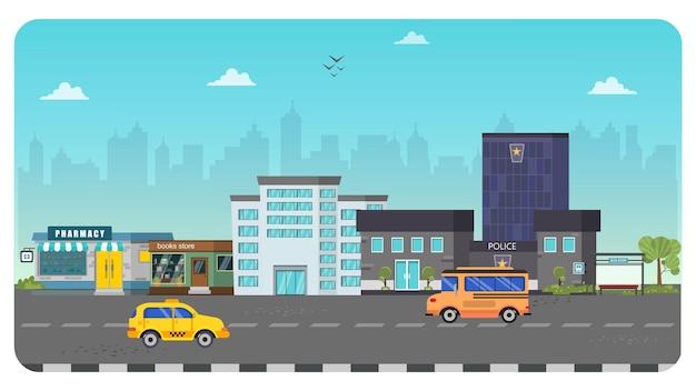 City town building illustratie landschap blauwe hemelachtergrond