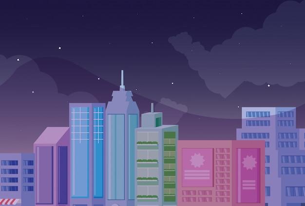 Cityscape gebouwen scène nacht pictogram