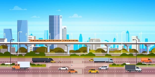 Cityscape illustratie modern stadspanorama met wegweg en metro over wolkenkrabbers