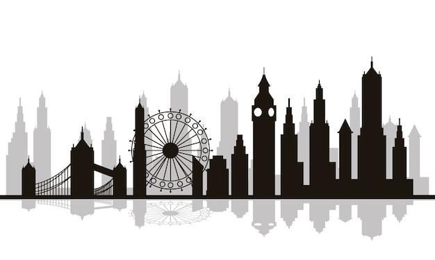 Cityscape londen skyline scène pictogram