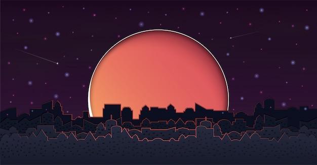 Cityscape met groep wolkenkrabbers in de nacht.
