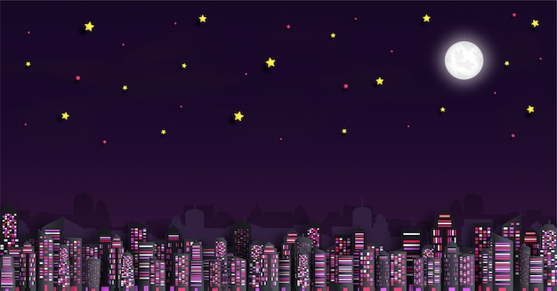 Cityscape met wolkenkrabbers in de nacht