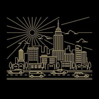 Cityscape ontwerp vector lijn kunststijl