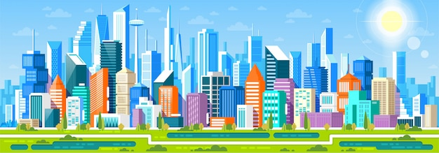 Cityscape panorama met verschillende gebouwen, office center, stor