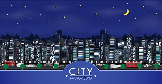 Cityscape papier kunst achtergrond