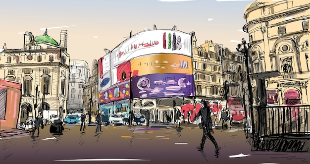 Cityscape tekeningschets in londen, engeland, toon loopstraat op hoek led-lichtbord, illustratie