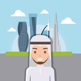 Cityscape van de de stads moderne bouw van doubai horizon met arabische mensen
