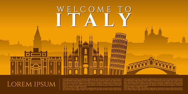 Cityscape van italië oriëntatiepunt vector grafisch ontwerp