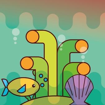 Clam vis koraal zee leven cartoon