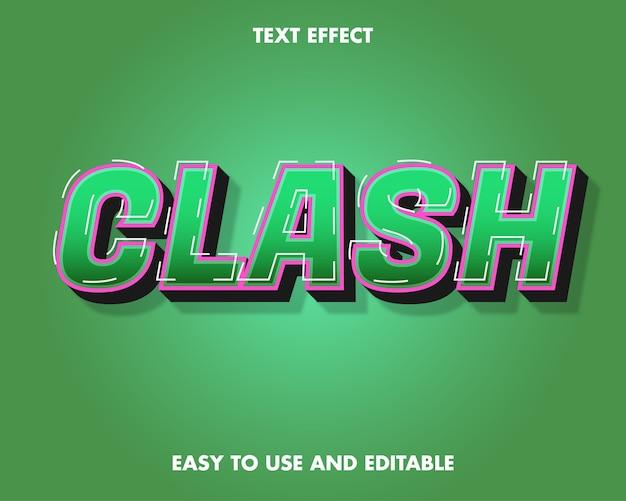 Clash-teksteffect. bewerkbare lettertypestijl.