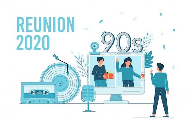Class reunion 2020. online feest voor studenten alumnibijeenkomst.