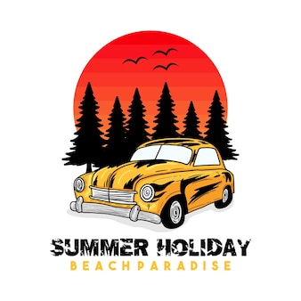 Classic car beach typografie voor t-shirt print met palm, strand en auto. vintage poster.
